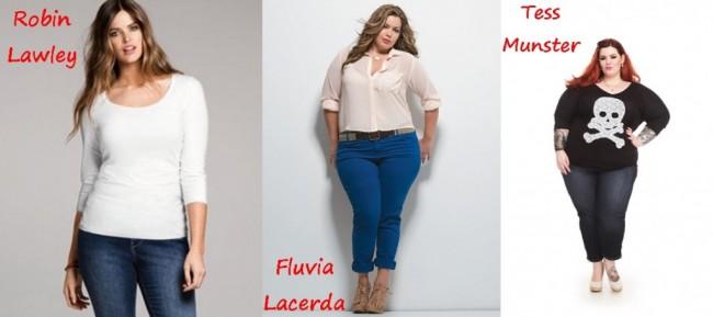 Na imagem eu trouxe três modelos plus size, famosas mundialmente.  Elas refletem bem a diferença de tamanhos que cito.